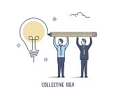 Abstract and symbolic presentation. Collective Idea. Business people trying draw one big light bulb. Outline vector illustration.