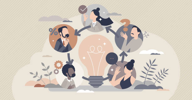 Collective intelligence as community group common sense tiny person concept vector art illustration