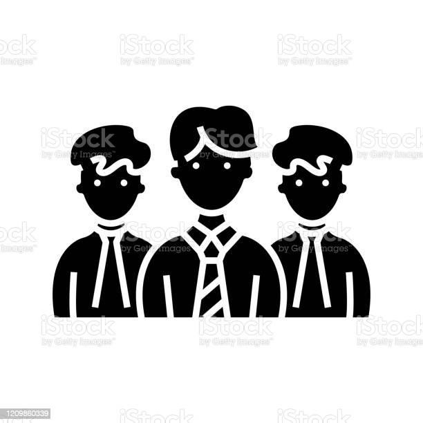社員のブラックアイコン概念図ベクトルフラットシンボルグリフ記号の ...