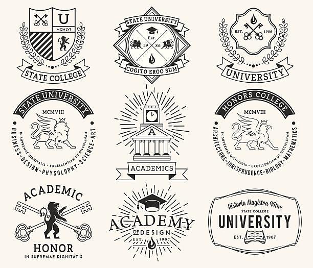 college i university logo 2 czarny na białym tle - insygnia stock illustrations