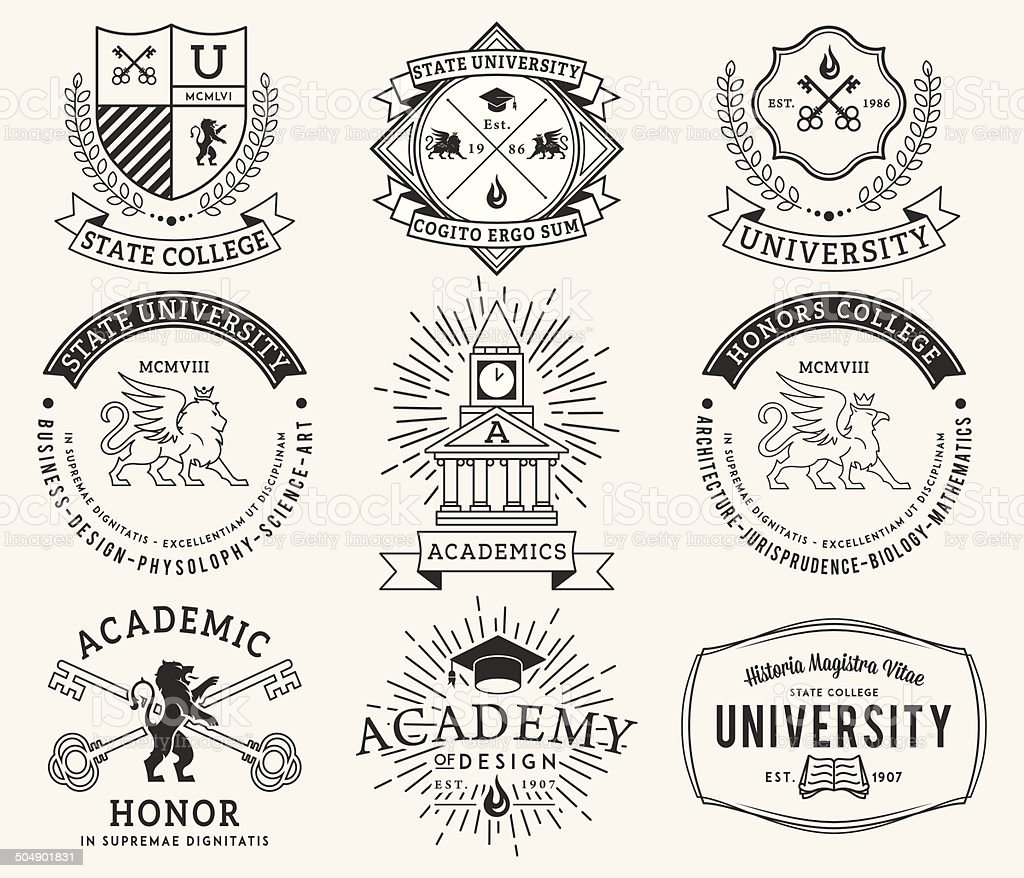 College and University badges 2 Black on White vector art illustration