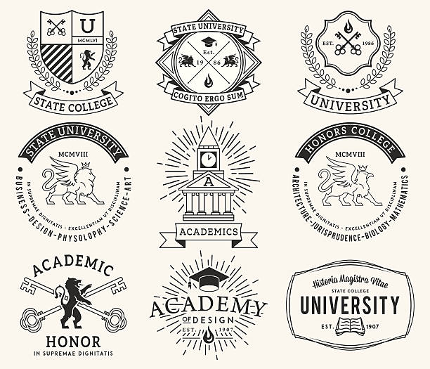 college and university badges 2 black on white - university stock illustrations, clip art, cartoons, & icons