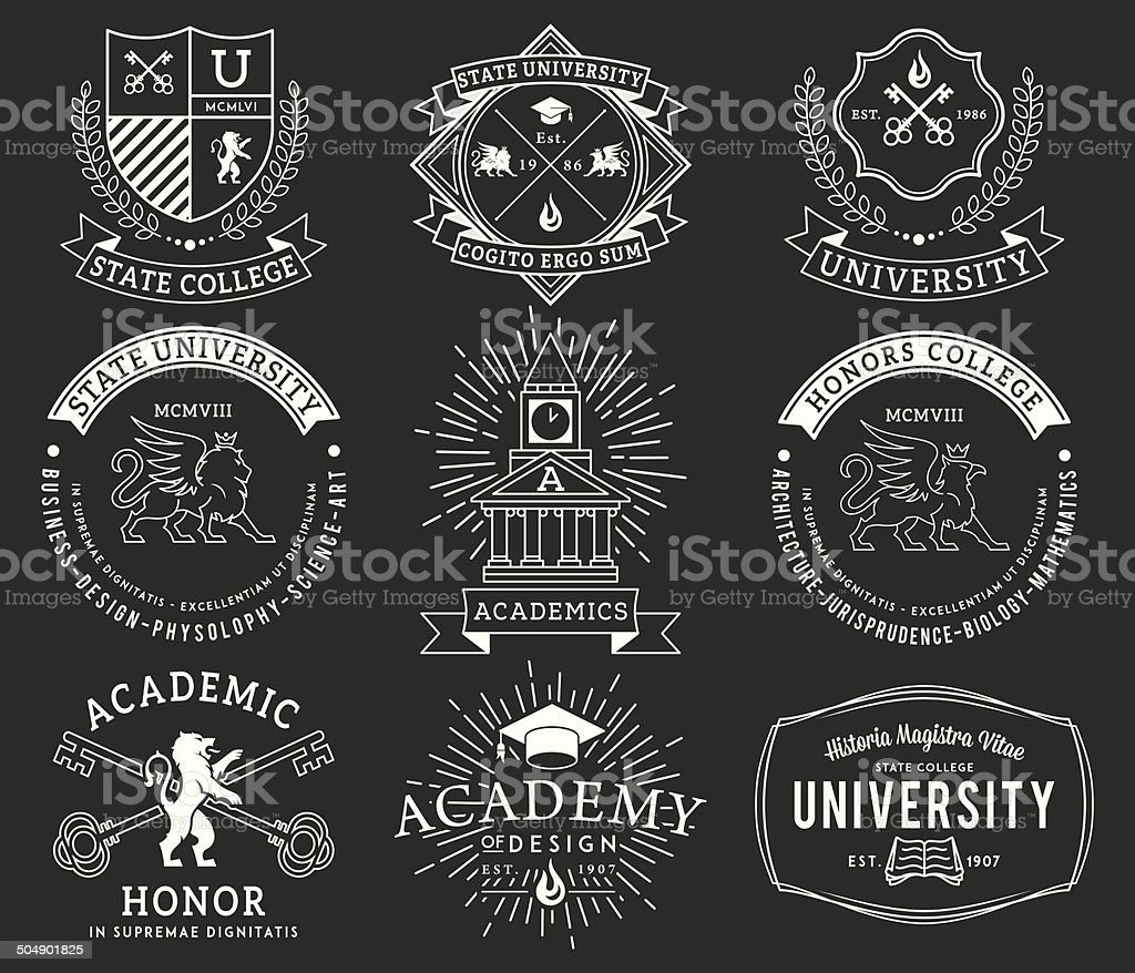 College and University badges 2 WB vector art illustration