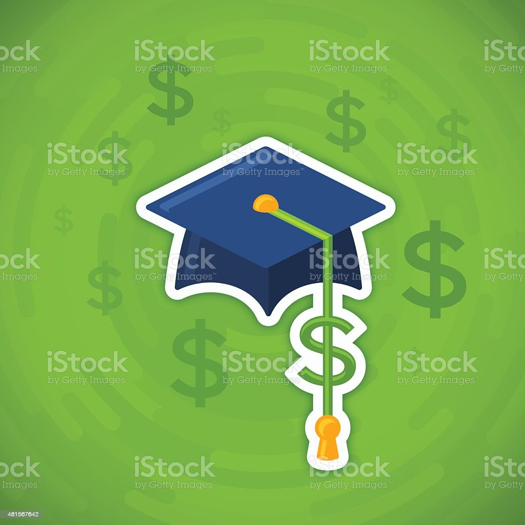 College and University Tuition Cost and Student Debt vector art illustration