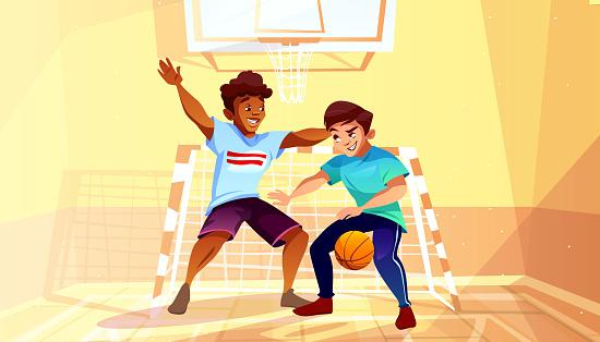 College boys play basketball vector illustration