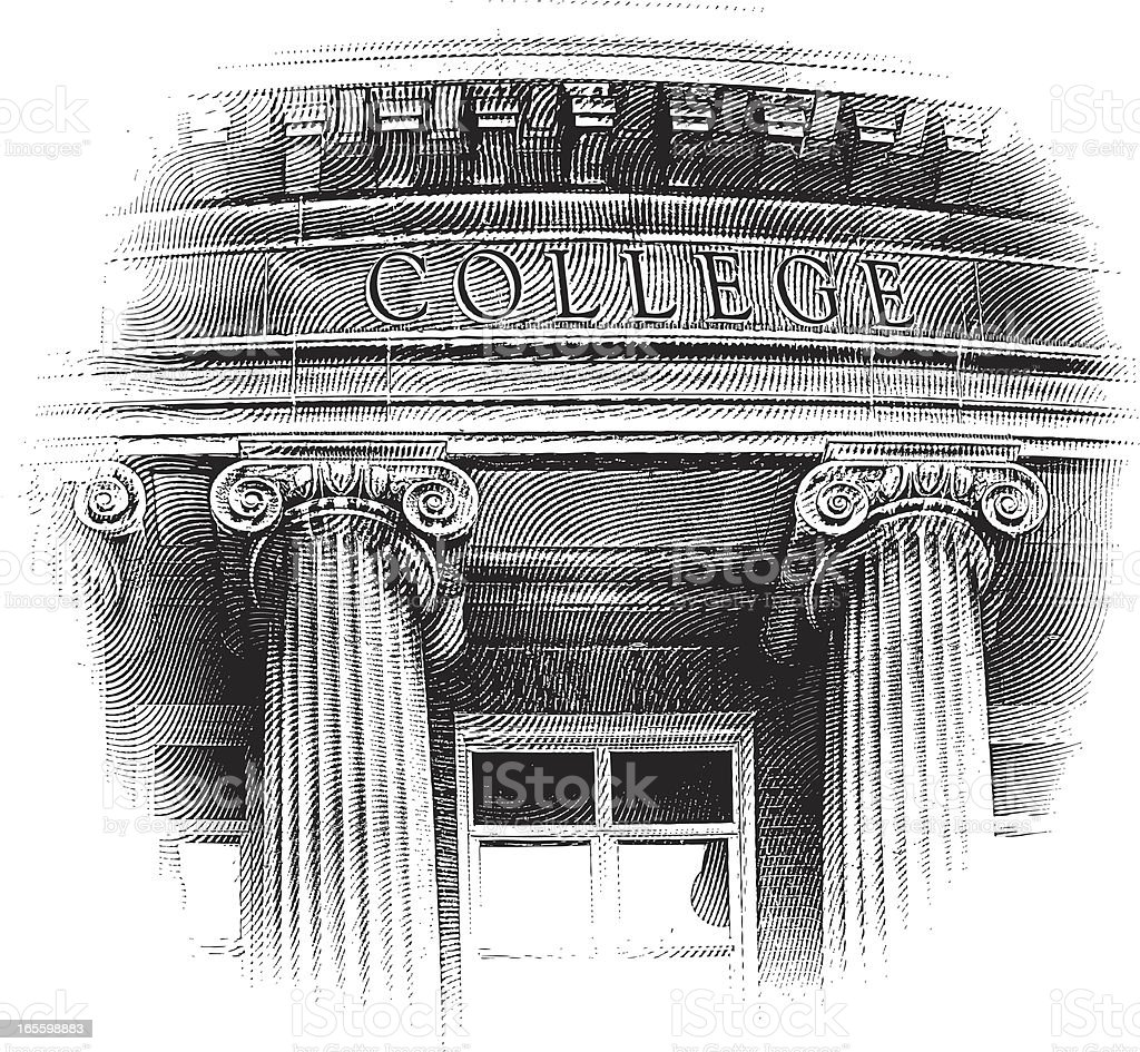College Building Engraving royalty-free college building engraving stock vector art & more images of architectural column