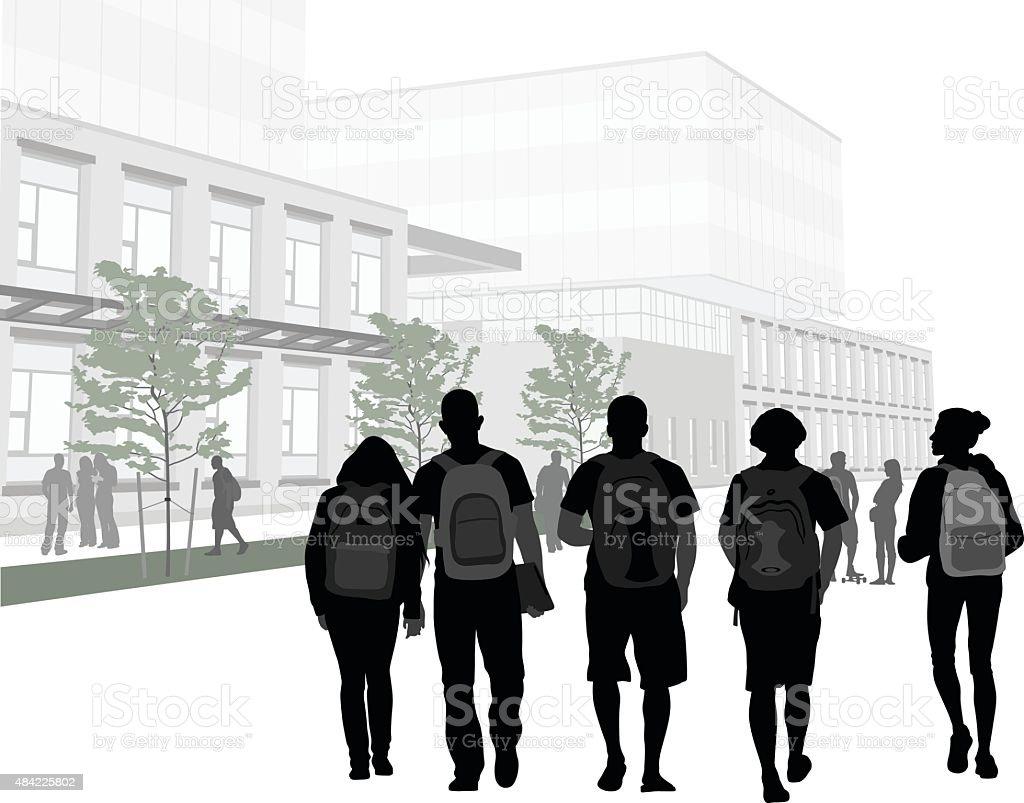 College Campus Friends vector art illustration