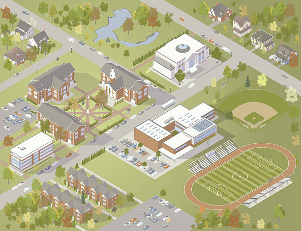 College Campus Illustration A richly detailed illustration of a college campus from above, including educational buildings, residences, dormitories, athletic fields, library, parking and green space. Isometric vector drawing is of a fictional university or other learning institution. campus stock illustrations