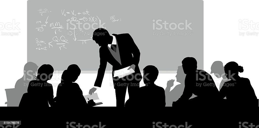 College Classroom Handouts vector art illustration