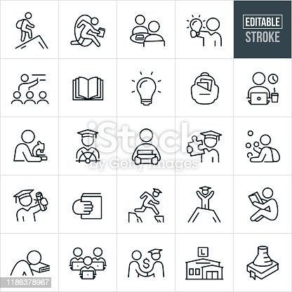 A set college education icons that include editable strokes or outlines using the EPS vector file. The icons include college students, college student with backpack, students studying, student with lightbulb, professor giving lecture, open book, lightbulb, backpack, student at laptop, student with microscope, graduate, graduation, student carrying books, graduate holding puzzle piece, student juggling, student holding diploma, student excelling, student reading, job offer, library and other related concepts.