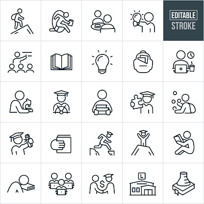 College Education Thin Line Icons - Editable Stroke