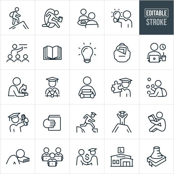 illustrazioni stock, clip art, cartoni animati e icone di tendenza di icone della linea sottile di college education - tratto modificabile - studenti