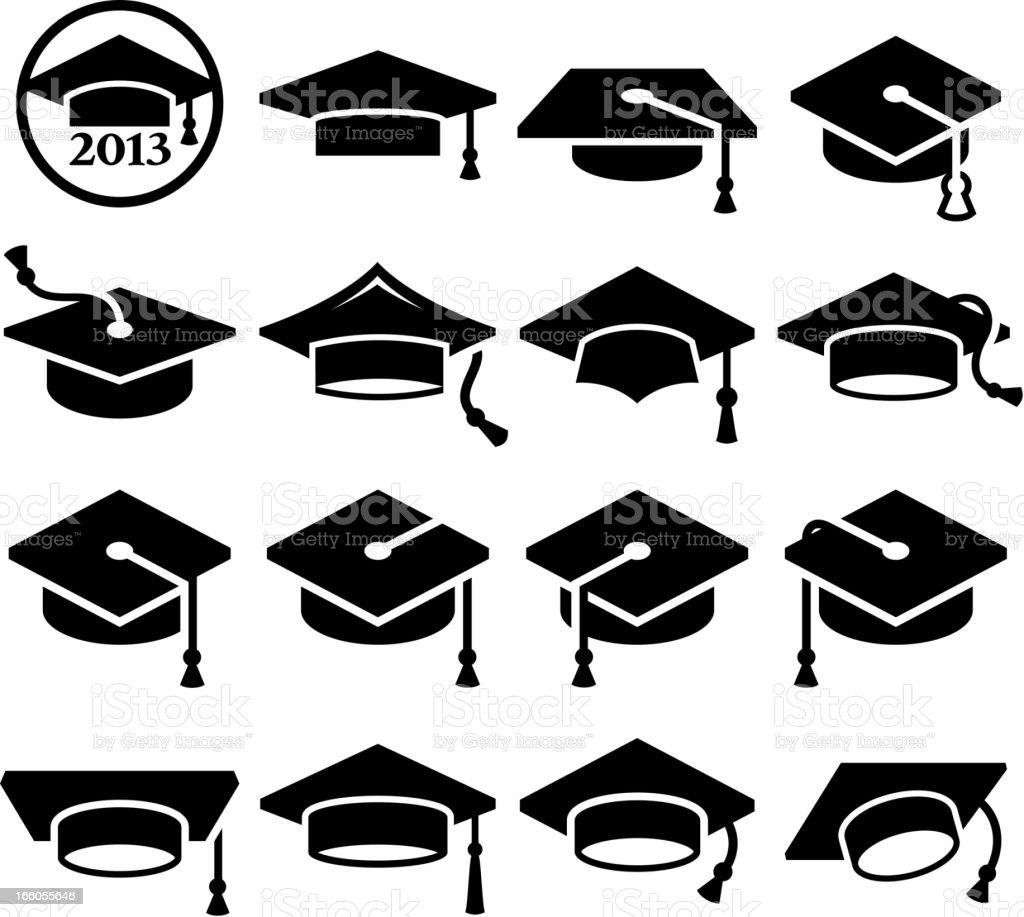 College Graduation mortar board graduation cap vector icon set vector art illustration