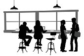 A vector silhouette illustration of a young man and woman sitting at a counter of a coffee shop.  She is working in her lap top nad sitting on a stool, he has some binders to his side.  They are joined by another couple standing to the side and engaged in conversation.