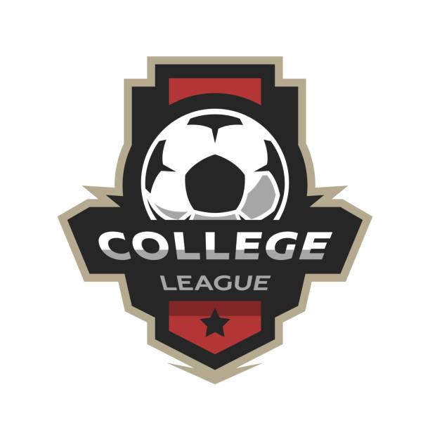stockillustraties, clipart, cartoons en iconen met college league, voetbal logo. - kampioenschap