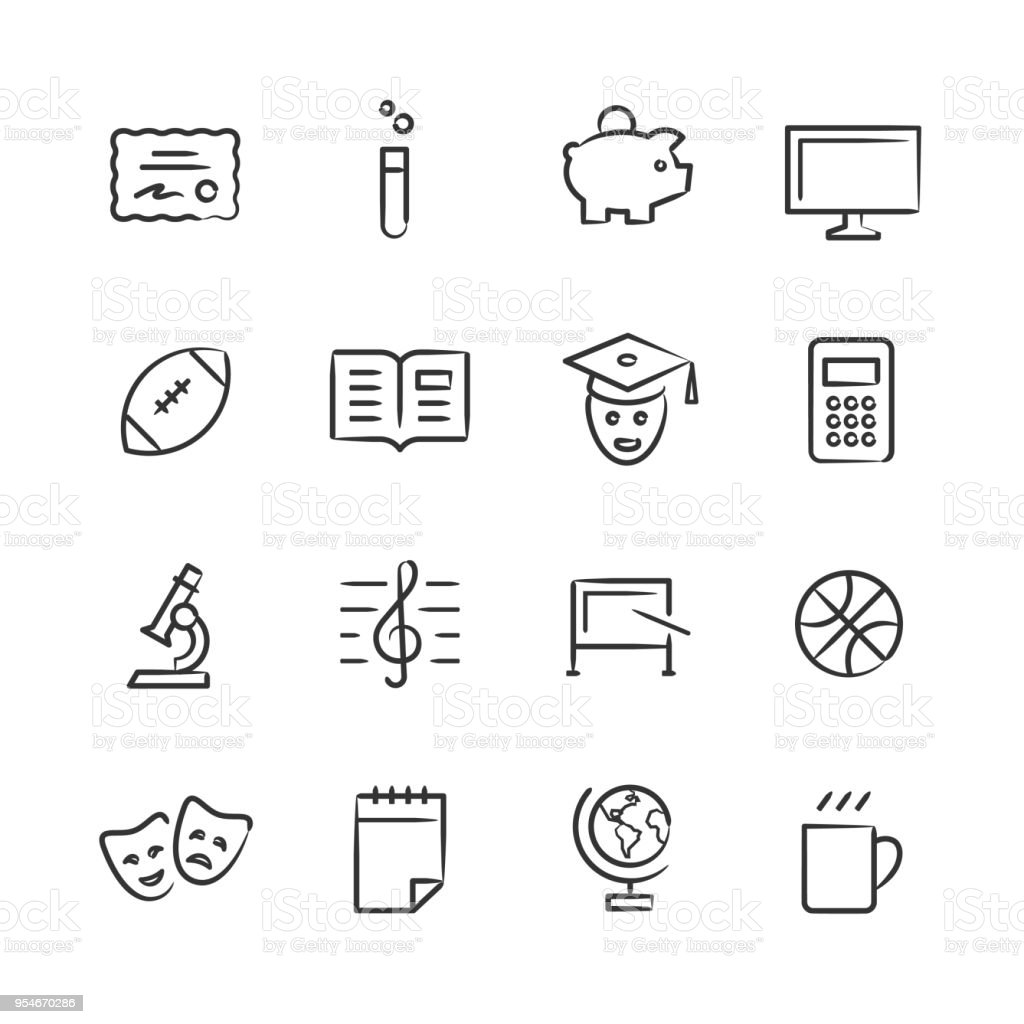 College Life Icons 2 — Sketchy Series vector art illustration
