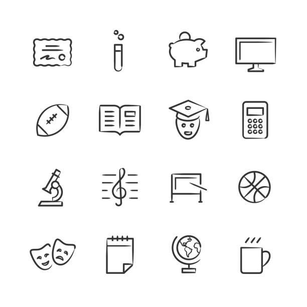 college-leben-icons 2 — skizzenhaft serie - hochschulgetränke stock-grafiken, -clipart, -cartoons und -symbole