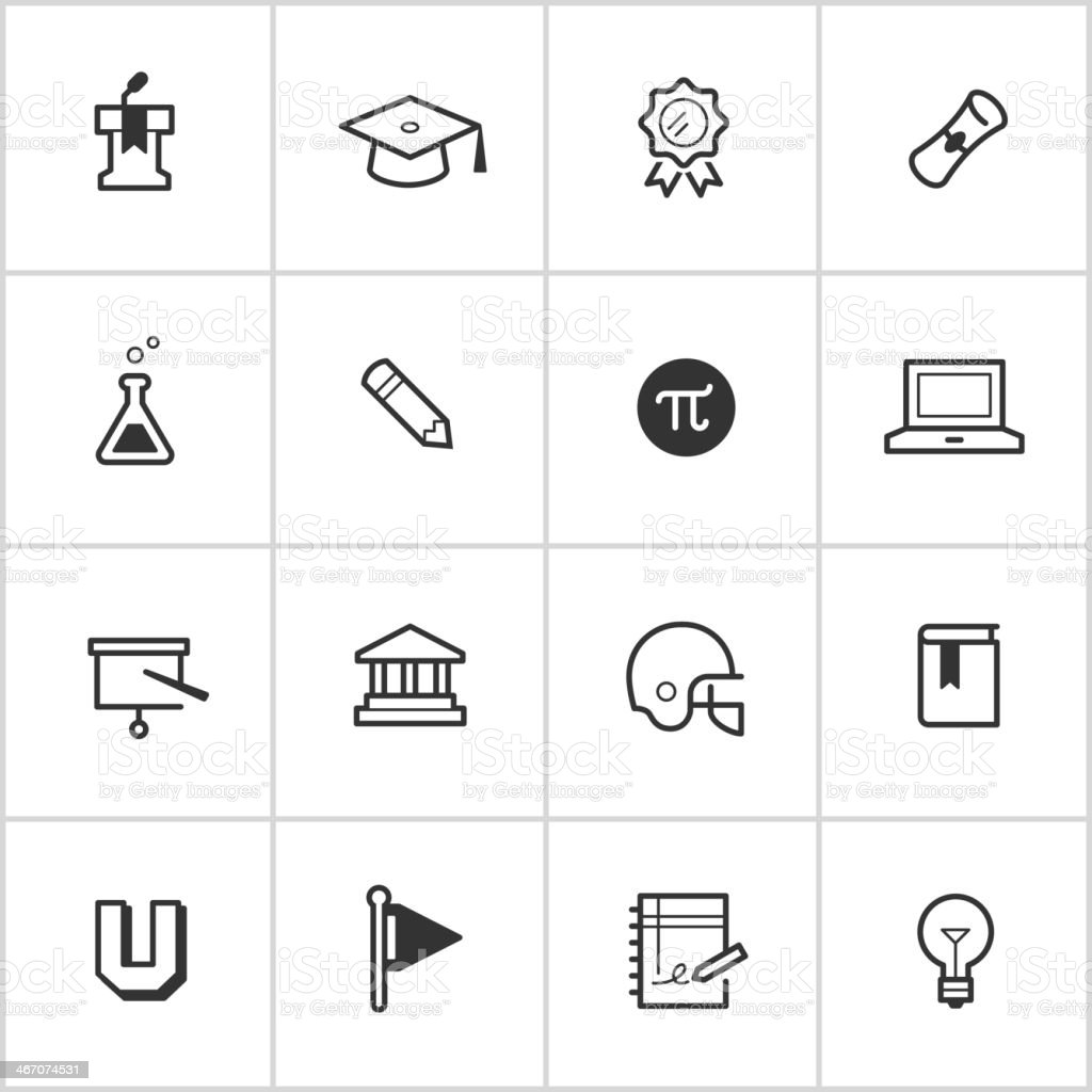 College Life Icons — Inky Series vector art illustration