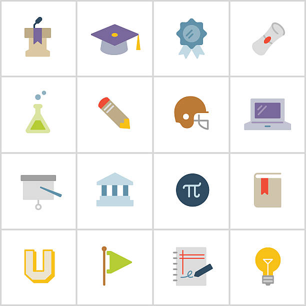 College Life Icons — Poly Series vector art illustration