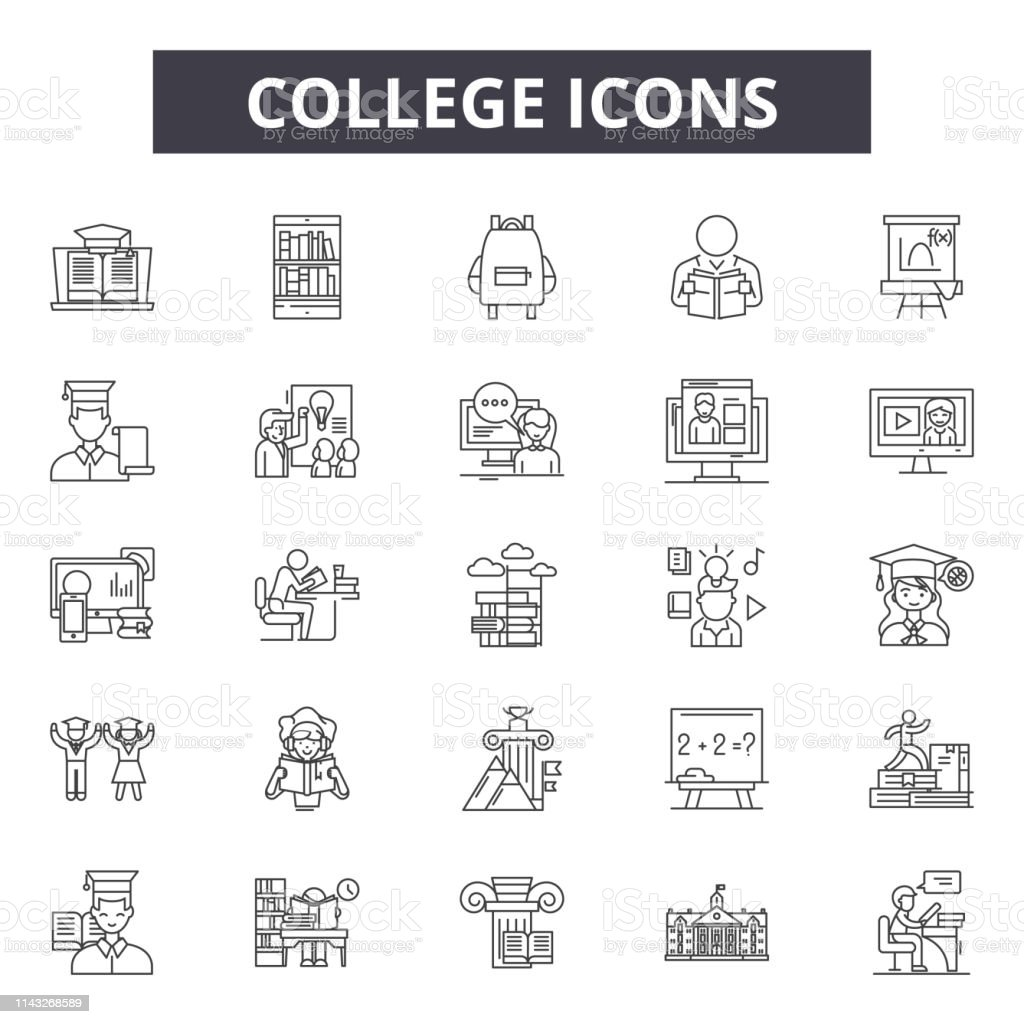 College Line Icons Signs Set Vector College Outline Concept