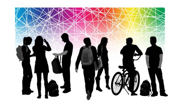 illustrazioni stock, clip art, cartoni animati e icone di tendenza di college pride diversity - compagni scuola