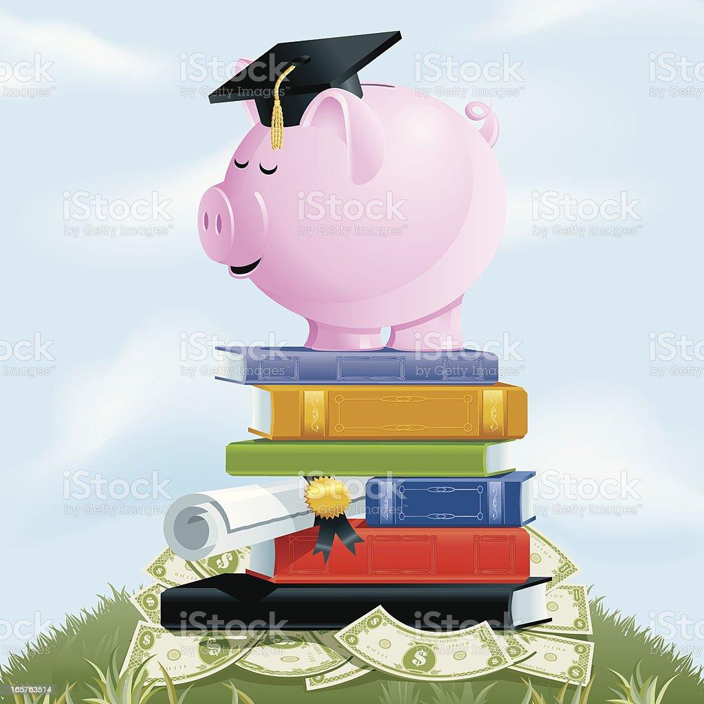 College Savings Piggy Bank royalty-free stock vector art