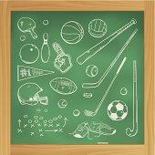 Sketchy chalk drawings of American sports equipment on wooden framed blackboard