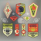 Set of emblems college sport team rugby