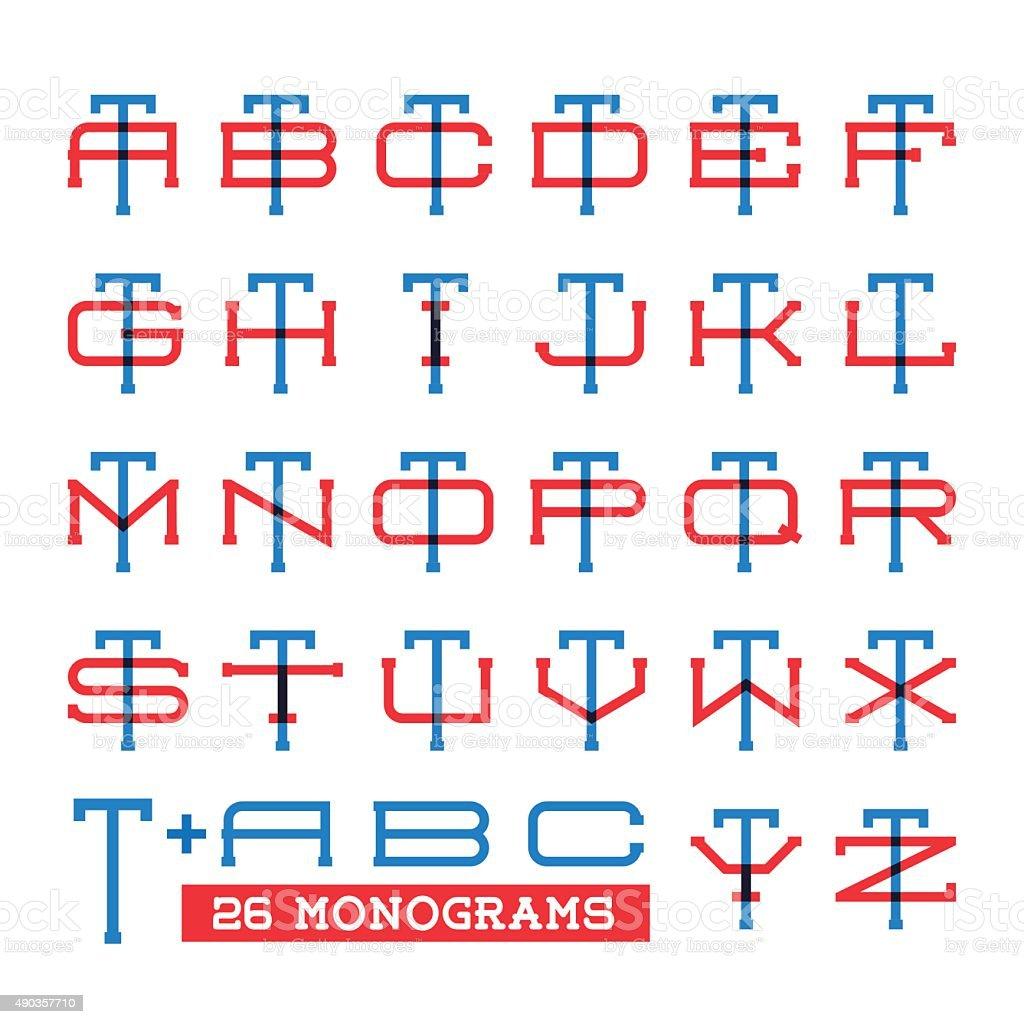 Collegesportteamlogo Zwei Buchstaben Monogram Bedrucktes Vorlage ...