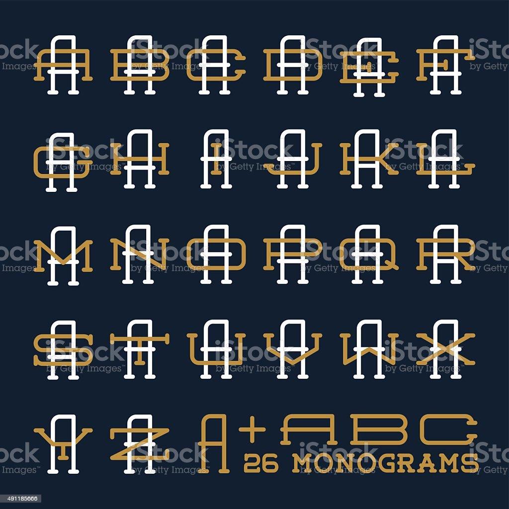 カレッジスポーツチームロゴセット2 つの文字のモノグラムテンプレート
