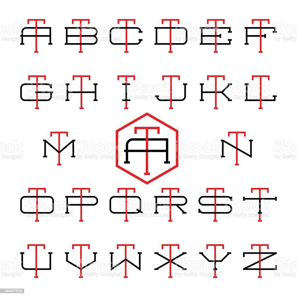 Collegesportteamlogo Zwei Schmale Buchstaben Monogrammvorlage Stock ...