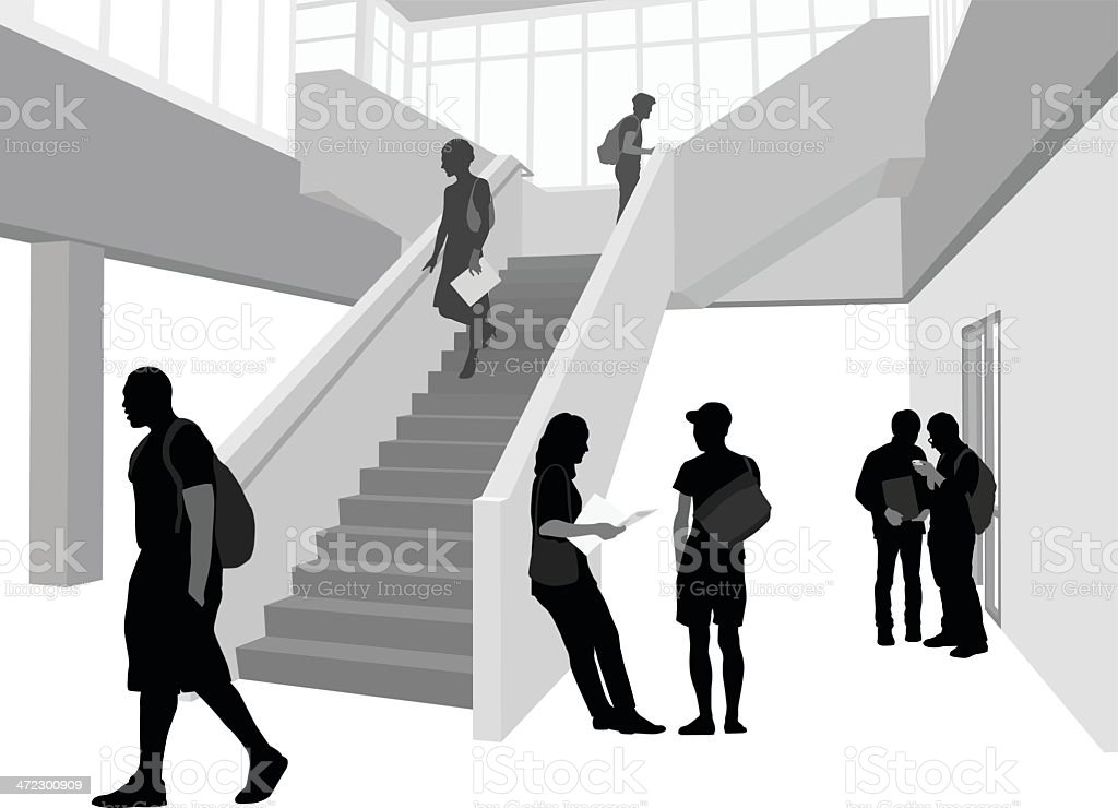 College Staircase royalty-free stock vector art