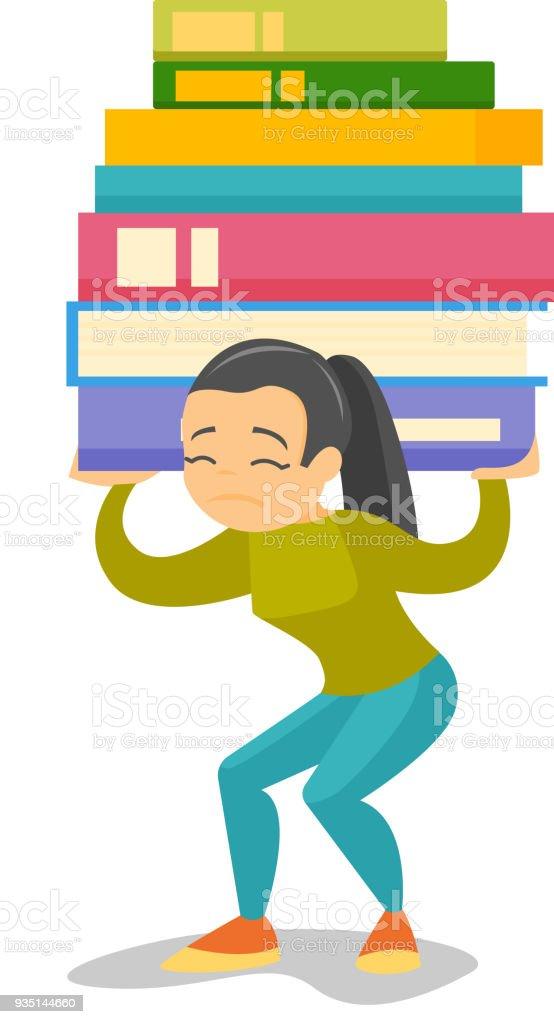 重い本の山を運ぶ大学生 1人のベクターアート素材や画像を多数ご用意