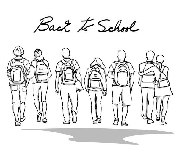 illustrazioni stock, clip art, cartoni animati e icone di tendenza di college students backpacks - compagni scuola