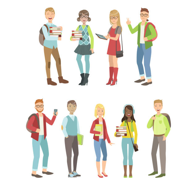 college students characters set - old man standing background stock illustrations, clip art, cartoons, & icons