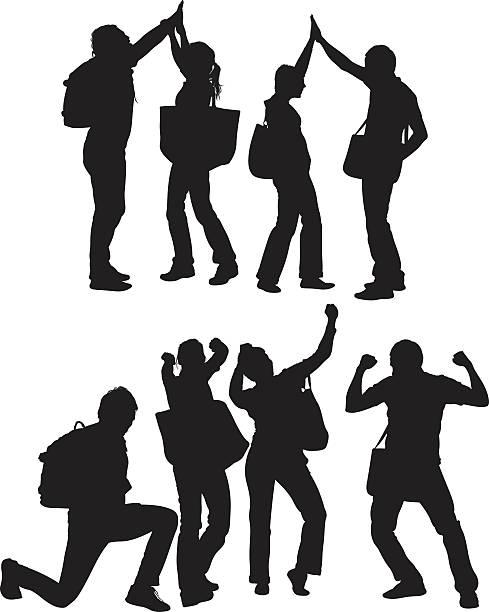 illustrazioni stock, clip art, cartoni animati e icone di tendenza di studenti universitari tifo - compagni scuola