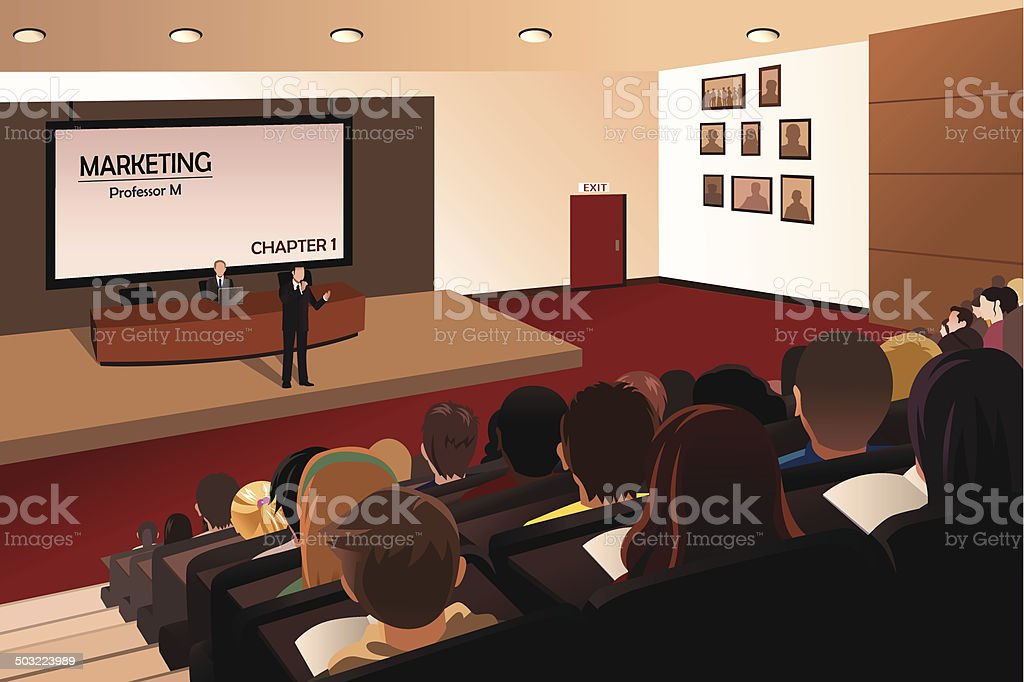 College students listening to the professor in the auditorium vector art illustration