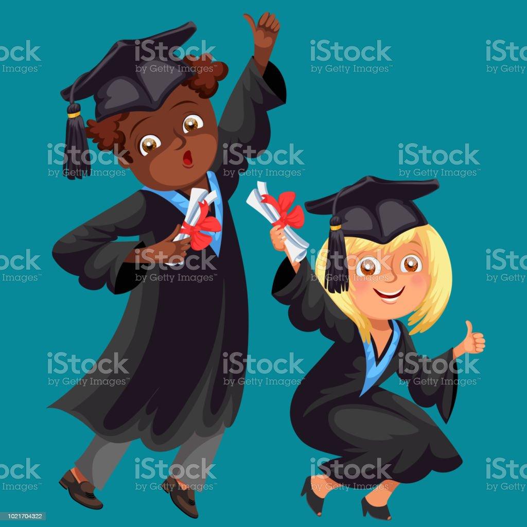 College Studenten Poster Mit Glucklichen Absolventen Verschiedener