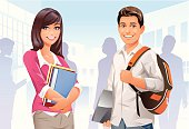 Illustration of a male and a female college students on campus. EPS8, fully editable and labeled in layers.