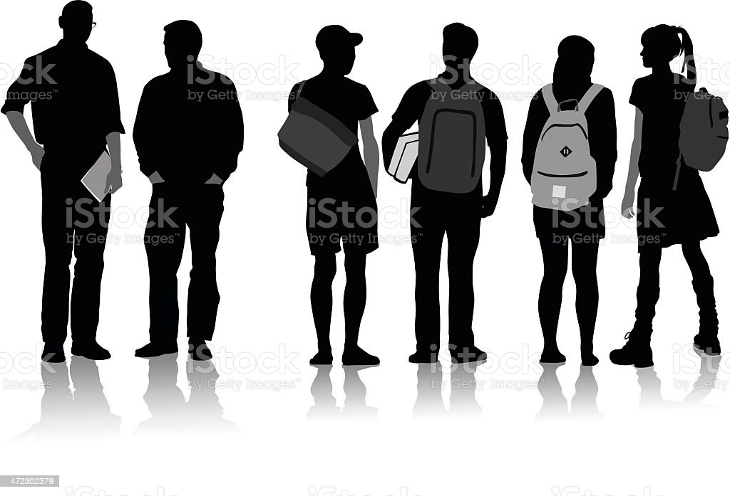 College Students vector art illustration
