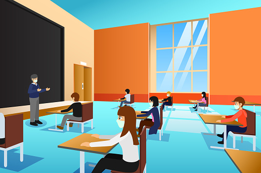 College Students Wearing Masks During Lecture Vector Illustration