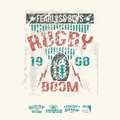 College team rugby retro emblem and design elements graphic design for t-shirt. Color drawing on a white background