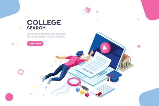 ilustraciones, imágenes clip art, dibujos animados e iconos de stock de universidad página web banner plantilla - training