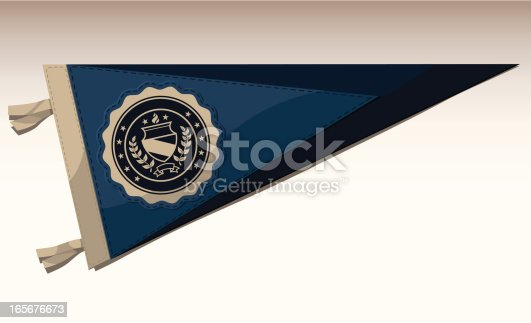 A felt pennant with a collegiate seal on it