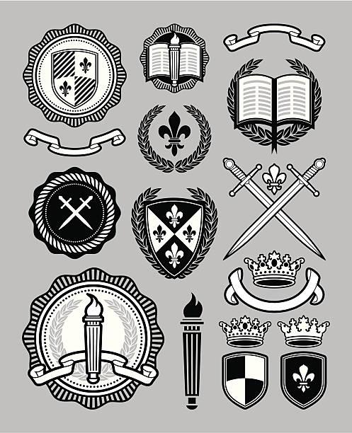 collegiate styl - insygnia stock illustrations