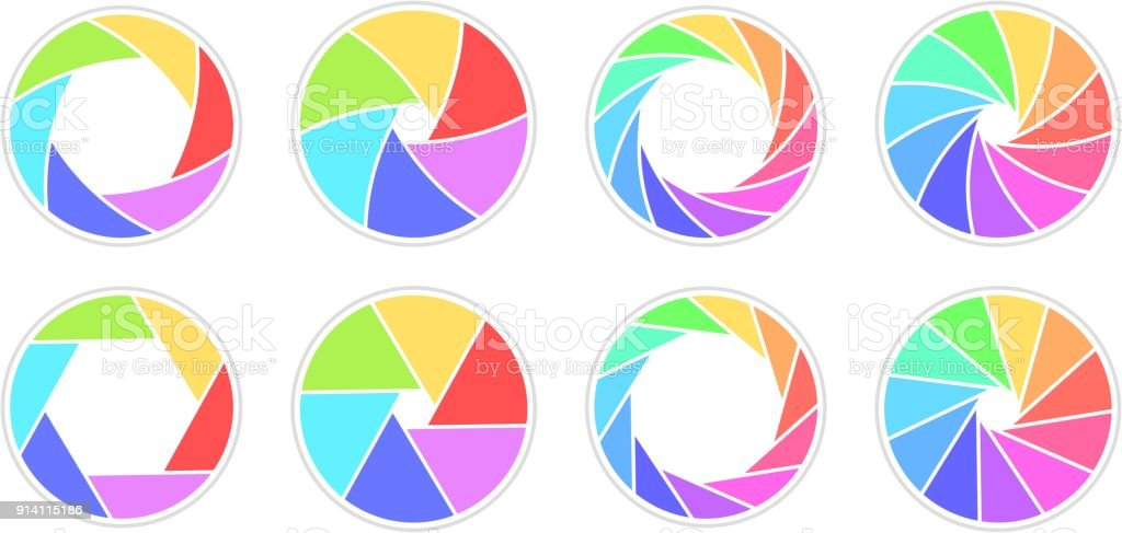 Colletction of open apertures with 6/11 blades rainbow colored vector art illustration