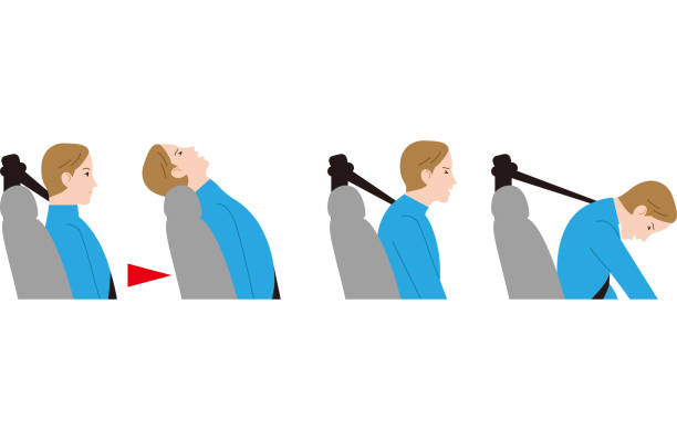 Collision accident from the back and low head rest. whiplash.Print vector art illustration