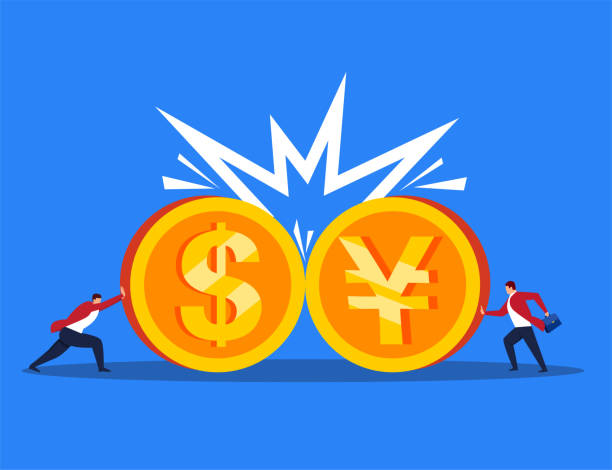 Collision between currencies Collision between currencies chinese yuan note stock illustrations