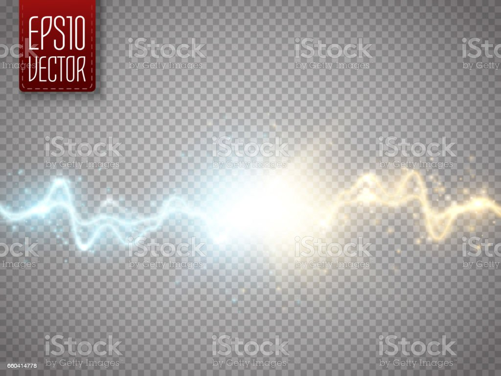 Collision of two forces with gold and blue light. Vector vector art illustration