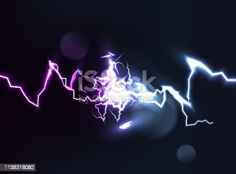 Collision of two forces with light. Hot and cold sparkling power. Light effect with sparks. Vector illustration.